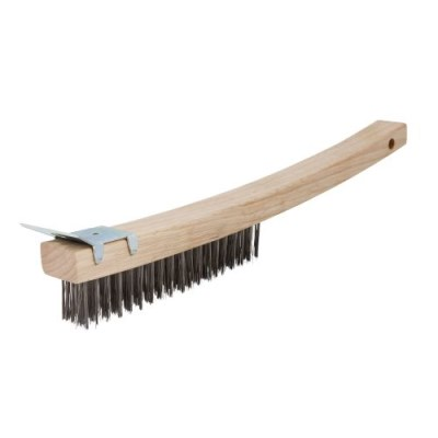 Wire Brush - Wooden Handle with Scraper